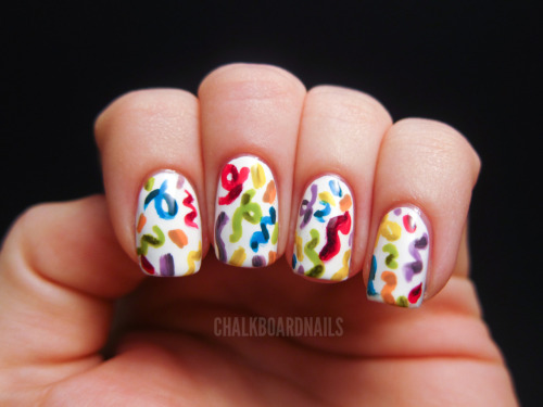 chalkboardnails:  Today's my birthday, so I did some confetti nail art. Hooray! China Glaze Heli-YumChina Glaze Peachy KeenChina Glaze Happy Go LuckyOPI Who the Shrek Are You?Zoya RobynOPI Do You Lilac It?
