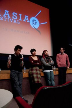 Howie Shia (left) expounds at a post-screening discussion during AmerAsia Film Festival. Aram Collier (right) steps up to Montreal fashion with this salmon-coloured doozie.