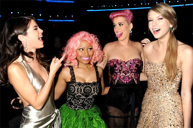 Selena Gomez, Nicki Minaj, Katy Perry, Taylor Swift at the 2011 American Music Awards at the Nokia Theatre in Los Angeles on November 20th, 2011.