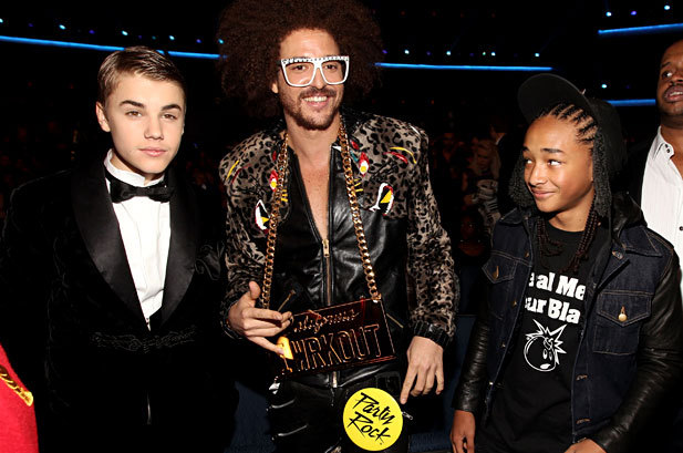Justin Bieber, LMFAO and Jayden Smith at the 2011 American Music Awards at the Nokia Theatre in Los Angeles on November 20th, 2011.