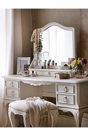 A beautiful and feminine dressing table and bench (via home sweet home / pretty)
