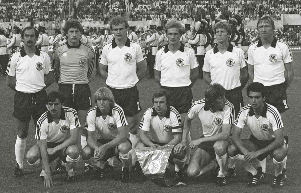 Germany's line up for the 1980 EURO final against Belgium at the Stadio Olimpico in Rome, Italy.  Germany won the game 2-1 courtesy of two Hrubesch goals. Back row (from the left): Stielike, Schumacher, Briegel, Rummenigge, Förster, Hrubesch Front row (from left): Allofs, Schuster, Dietz, Kaltz, H. Müller