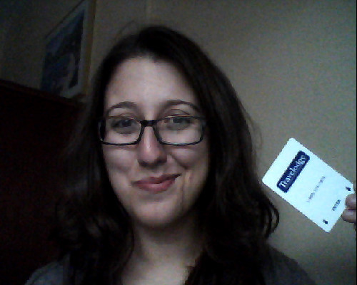 So this is what I look like with hat hair and a card-key to a Travelodge somewhere in southwestern Portland (Oregon). Jess and I just checked into our room and we're ready to PARRRTAY.