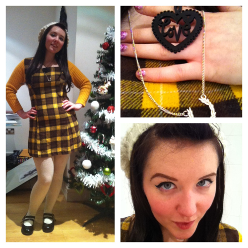 Me today…  Outfit: vintage dress, cream knit tights from Leeds Market, bodyline shoes, h&m hat, Fred Perry silver necklace and a new necklace I bought at Reetsweet craft fair.
