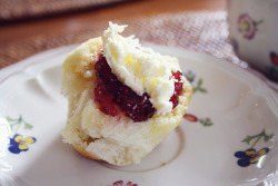 clottedcreamscone:  scones by pearled on Flickr.   Heaven on a plate.