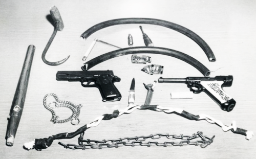 Weapons confiscated from teenagers in Queens before a brawl, 1953