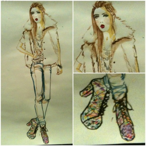 Tennessee by, me - watercolor & mixed media - 20 mins I love her shoes (Taken with Instagram at Fashion illustration by, me)