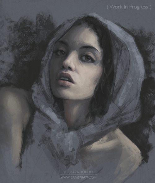 """Terra"" - in progress - by Sam Spratt Moving forward with Terra (See early sketch here). I resolved a few anatomy issues and decided to go for more deer-like, large eyes. I took my sweet time on the eyes and lips as they will serve as focal points (along with the hands eventually), allowing me to use loose, spontaneous brushwork for some of the larger areas of skin and especially the cloth—letting the less important visual information be more suggested and less rendered for a painterly look. Follow my: portfolio website,  tumblr,  facebook artist's page and twitter."