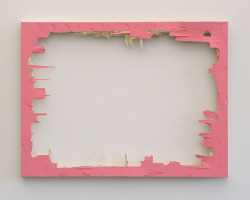 Matthew Deleget Pink Nightmare, 2007 Pink monochrome painting (acrylic on panel), hit with a hammer  18 x 24 inches