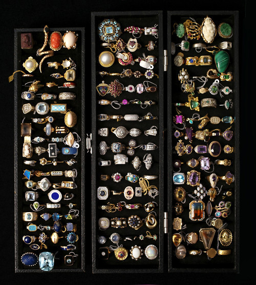 "Costume Jewelry Rings What can we say except ""you can never have enough too many cocktail rings""? We found a gaggle of costume jewelry rings in gold and silver on eBay to keep your jewelry chest this full.  (Photo: Sourced at WeHeartIt. Text by Jauretsi)"