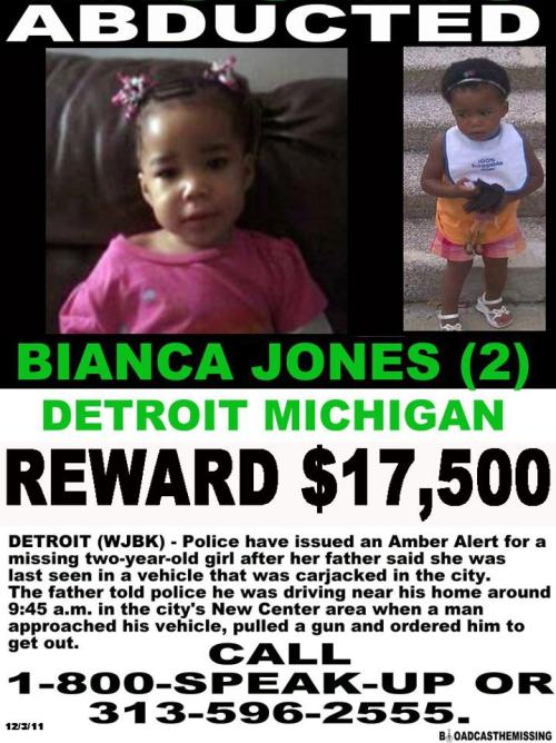 Missing Bianca Jones- Detroit 2 year old