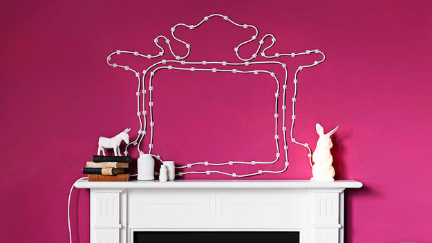 Electrical Cord Wall Decoration | Real Simple This is such a clever solution to a problem most of us have! Though it may take a while to stick up, if you sketch out the pattern with a pencil before you stick up the cord hooks you should be peachy!