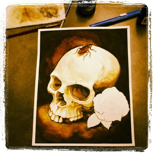 I'm about due for a skull painting. Watercoloring till my fingers bleed… #skull #paint #watercolor #roach #rose #tattoo (Taken with instagram)