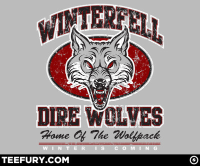 Limited Edition Tshirt: Winterfell Wolves by blueliner98 is on sale for $10 from TeeFury for 24 hours only.
