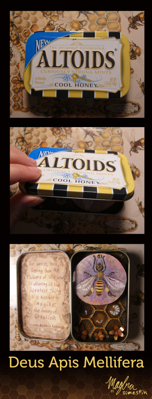 "I made a bee shrine. =B The quote inside the lid says ""The artist, then, is sipping from the flowers of life and is offering us the sweetest thing it is possible to imagine: the honey of creation."" - Juan Antonio Ramirez"
