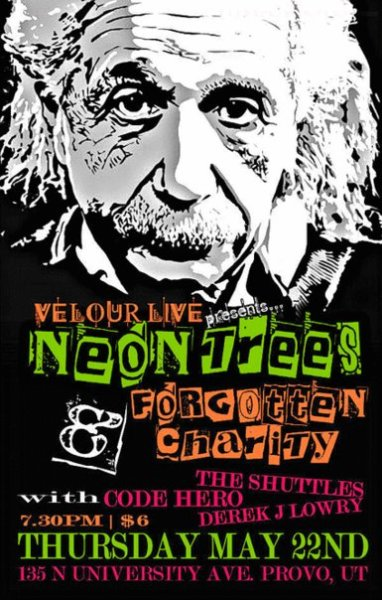 I forgot all about this! I made this poster for Neon Trees and my buddies Forgotten Charity back in 2008.