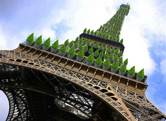 Consultants Imagine an Eiffel Tower Covered in Trees  A French consultancy called the Ginger Group has proposed a scheme that would cover the Eiffel Tower in greenery, ostensibly motivated by increasing levels of air pollution in Paris.  More: The Atlantic Cities