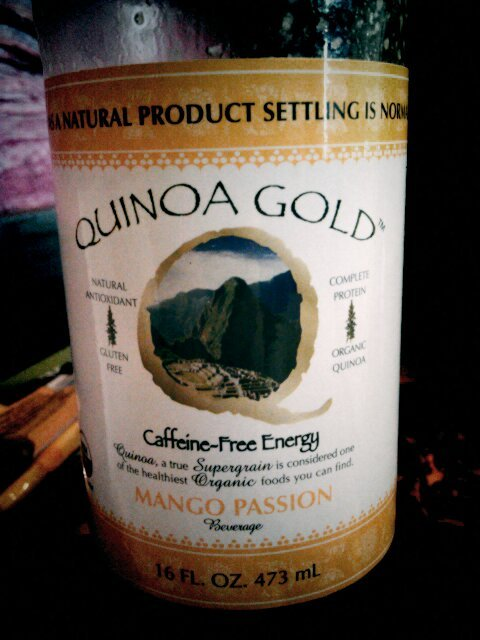 REVIEW: Quinoa Gold Mango Passion beverage I'm super into organic/natural/health food stuff, and this definitely caught my eye at the natural foods store. A drink made of quinoa? yep, it's true, and if you've ever tasted the water that quinoa was rinsed in….it kind of has that aftertaste. It's interesting for sure! After a couple sips, you get used to that and the flavor starts coming through. It actually took me quite awhile to get through the whole bottle simply because of the texture and heaviness of the drink, which is good because it's 160 calories/serving and at 2 servings a bottle….let's just say, this was my lunch. Fairly tasty, filling, and good for you - I'd probably have it again :) CALORIES: 160/servingSERVINGS/BOTTLE: 2FAT: 1gCARBS: 35g (eh…)TASTE: something to get used to, but good nonetheless. must be adventurous!ENERGY: definitely helped boost my energy after my workout