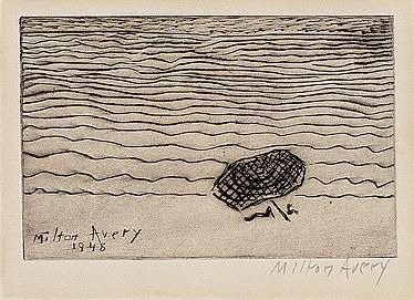UMBRELLA BY THE SEA    [+]  By Milton Avery