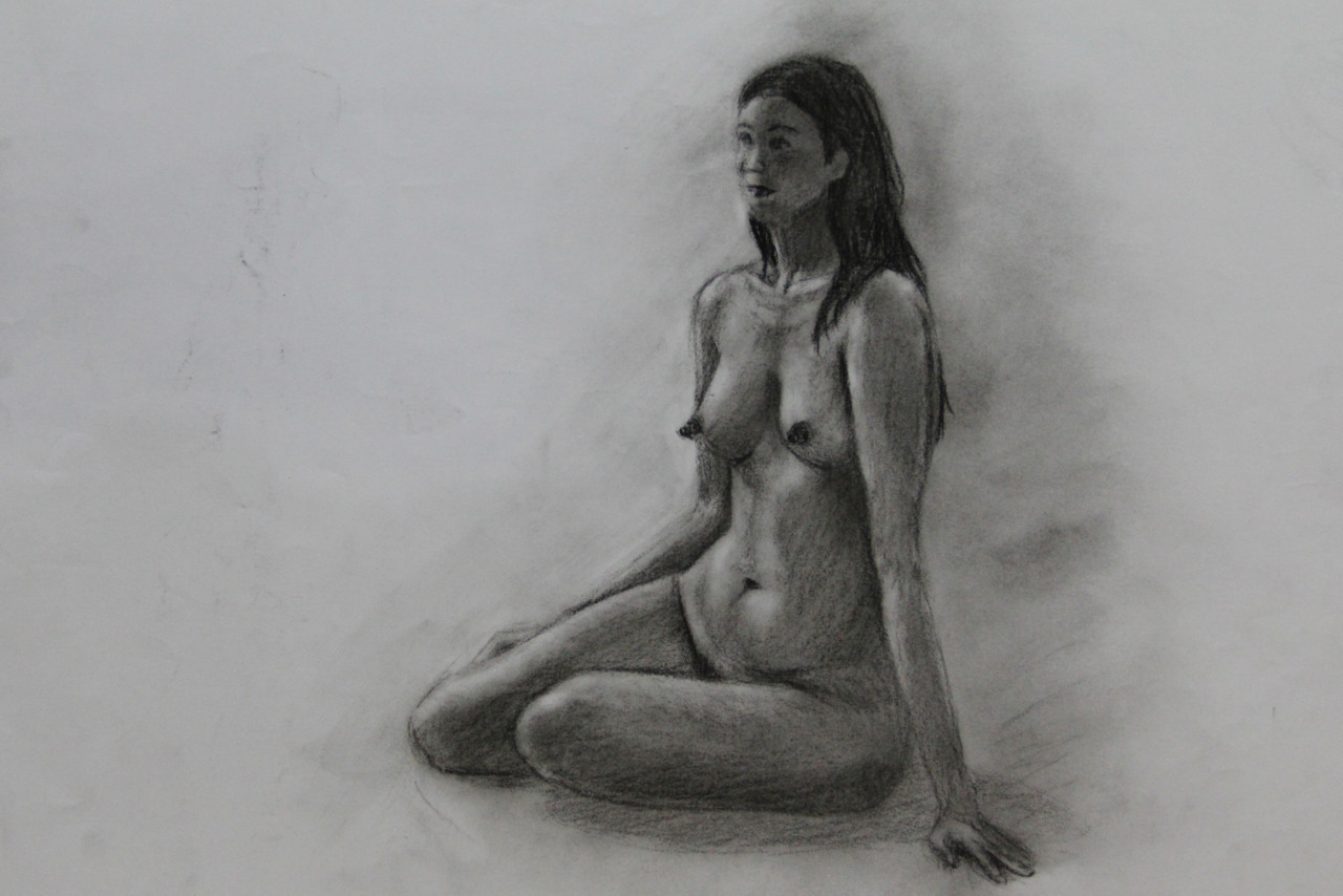 "My work from my first ever figure drawing session with a live model. I will never forget my nervousness before the class started. I looked at the model whose face had no trace of anxiety, comfortably sitting, still with clothes on. I then took my materials out from my bag and the next thing I see is the model starting to pose, fully nude. In my mind I was like ""Wow, that was fast."" She looked very much at ease that I started to feel comfortable as well. I've loved figure drawing since then."