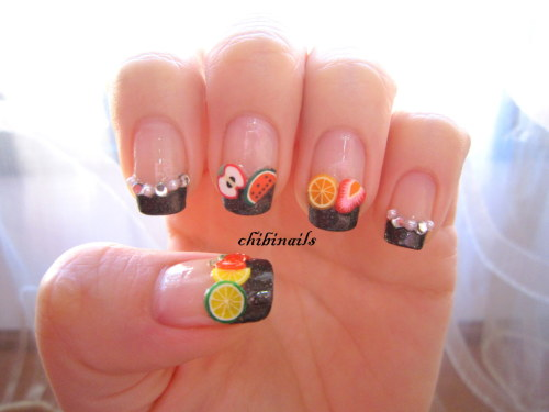 Fruits fimo nails! :)