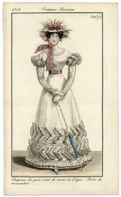 Journal des Dames et des Modes, 1823.  I have to admit some confusion about this dress.  Her sleeves- is that the fabric or is there some sort of trim on them?