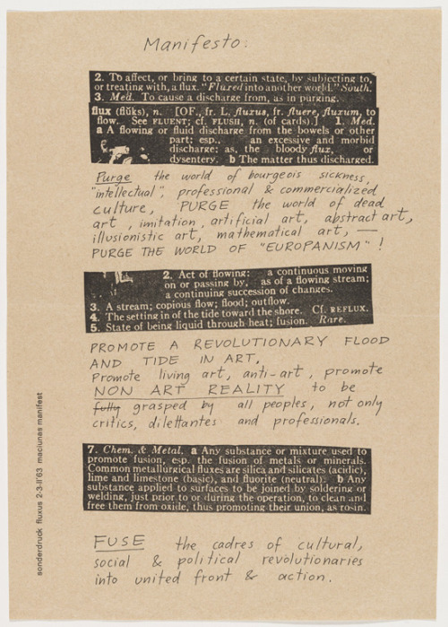 George Maniunas // Fluxus Manifesto, 1963. The Museum of Modern Art (via MoMA | Unpacking Fluxus: An Artist's Release)