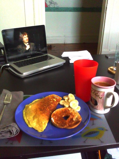 Omelets and Dylan Moran. Best start to a day.