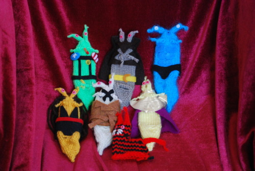 "From my new line of slug finger puppets. Here are the Watchmen. ""Who watches the Watchslugz?"""