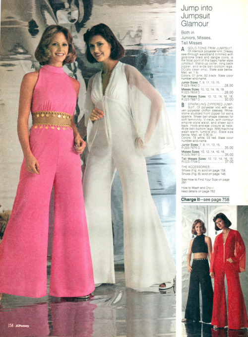 newhousebooks: 1976 JCPenney Winter catalogue. Forget his-and-hers jumpsuits: try some hers-and-hers jumpsuits, with bell-bottoms so wide you could host a wedding reception under them.