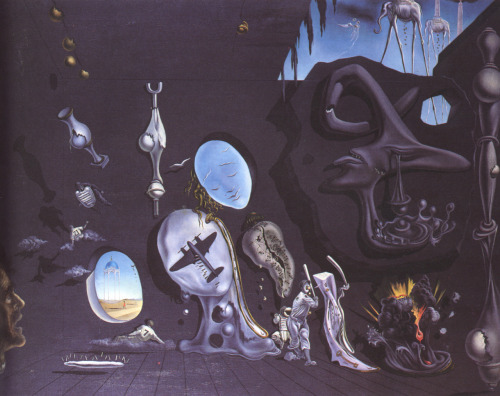 i12bent:  Birthday of Salvador Dalí - May 11, 1904 - 1989 - Surrealist jester… Salvador Dali: Melancholy Atomic Uranic Idyll, 1945 (via danielnolan)