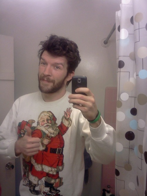 actioncalvin:  Hungover bed head xmas sweater edition.