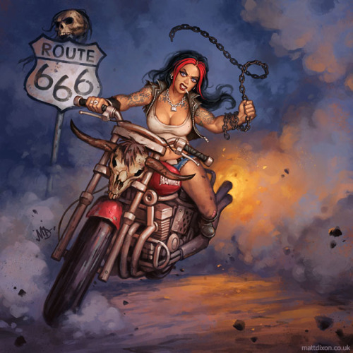 motolady:  Route 666 biker girl illustration by Matt Dixon (website)