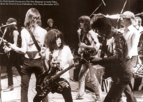 sogoddamnyoung:  The Patti Smith Group with Dee Dee Ramone and Andy Paley - New York December 1975 scanned by: sogoddamnyoung