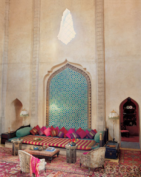 A beautiful and exotic three-story living room in Marrakech, Morocco (via LookBook - Search Photos by Room Type and Design Style at ELLE Decor)