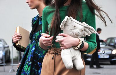 I love the green and camel combo lately, as well as elbow patches!  via Jak & Jil.