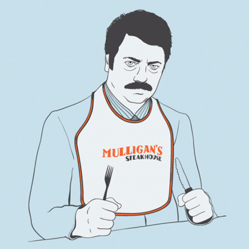 bustedtees:  Mulligan's Steak House…If they're out of steak, order all the bacon and eggs they have!