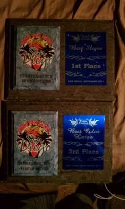 My Awards this year at the San Diego Body Art Expo.  1st place: Best Sleeve 3rd place: Big Color