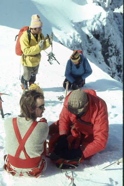 The summit of Ben Nevis: Yvon Chouinard, Johnny Cunnigham, Hamish McKinnis, Tut Braithwaite