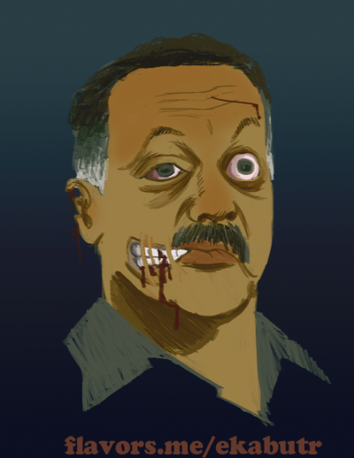 """Zombie Jesse Jackson"" by Monica Ekabutr. Inspired by Ivan Hernandez  ""First they put us in chains! NOW WE EAT BRAINS!""  - Ivan Hernandez on the eventuality of Zombie Civil Rights, more specifically, the National Association for the Advancement of Colored Zombies (NAACZ)"