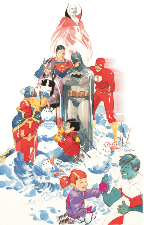 novangla:  discowing:  Everyone is all, yay, snow, and Batman is like, that kid in red seems entirely adoptable. [By Dustin Nguyen.]  Flawless commentary. Also, SUPERSNOWMAN :D
