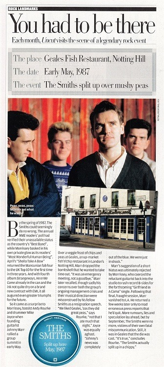 Short article about The Smiths' split, from Uncut, November 2006.