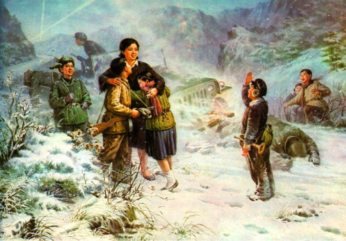"hyungjk:  In reference to the distinctive art of the DPRK and the traditional rubric ""painting on Wednesday"" to present you an artist painting Shin Yung Heck ""Our teacher."" Juche 67 (1978), 104 x 155 cm Oil on canvas."