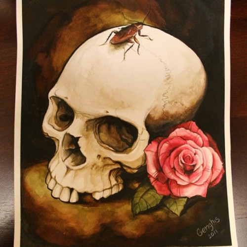 Finished Watercoloring this… #rose  #roach #watercolor #skull #tattoo #genghis #paint (Taken with instagram)