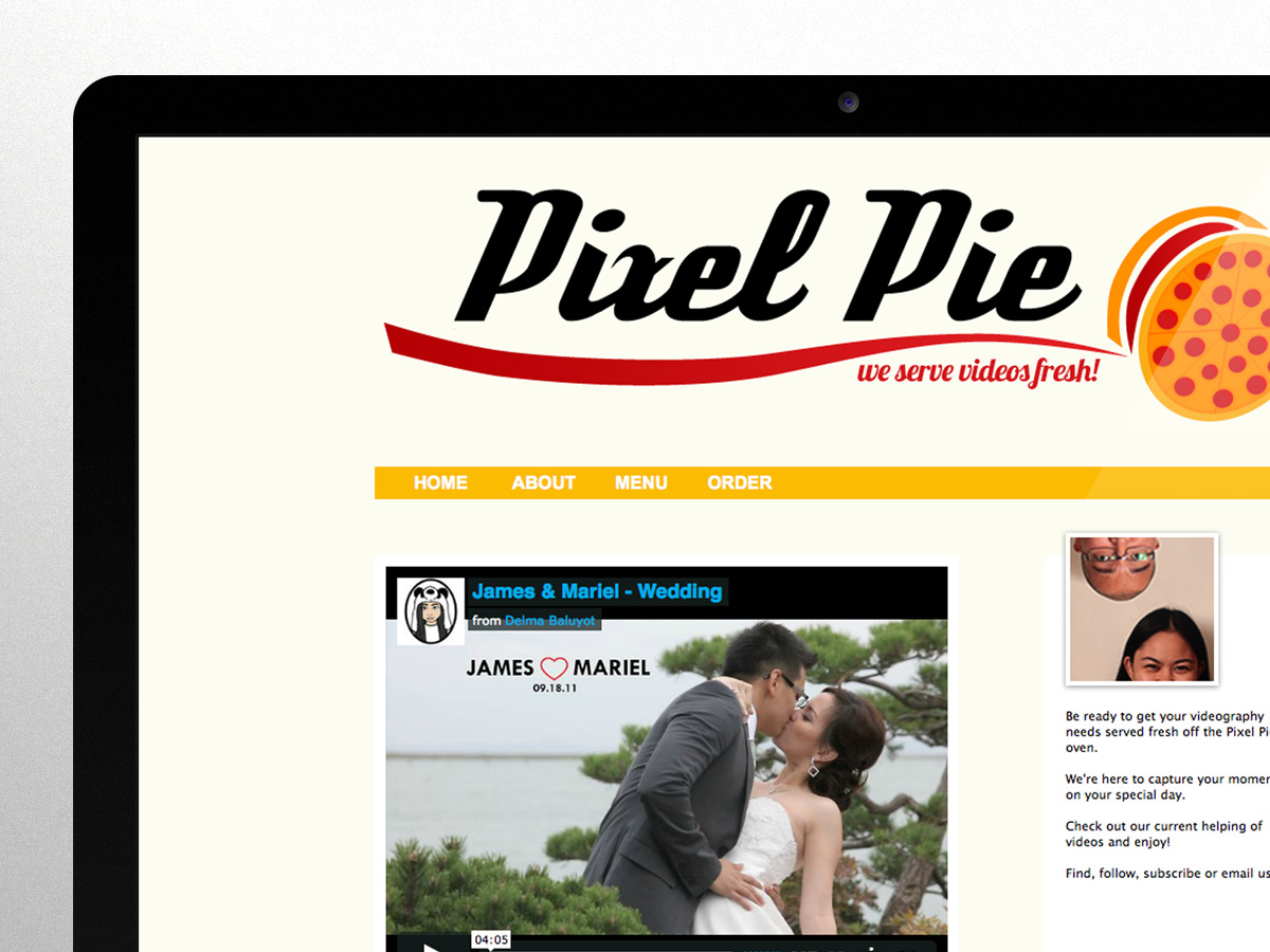 Pixel Pie Videography Branding and Tumblr Website Pixel Pie is an event videography studio that I created with my fiancé. What started as a one off gig became a full-on side project. The idea was to create an identity that is unique among the competition. I handle the design, particularly branding and packages to our clients, while she takes care of post production. We both work on the videography aspect. pixelpie.tumblr.com
