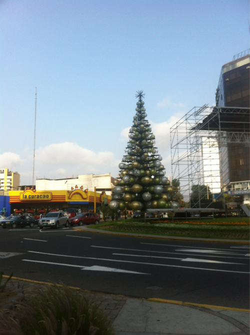 Christmas trees in Lima are very impressive. This one is made of giant ornament globes.