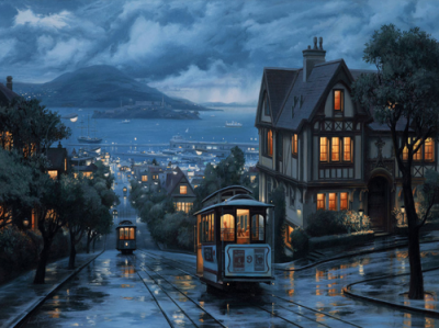 gutoap:  Amazing Rainy San Francisco #Painting |