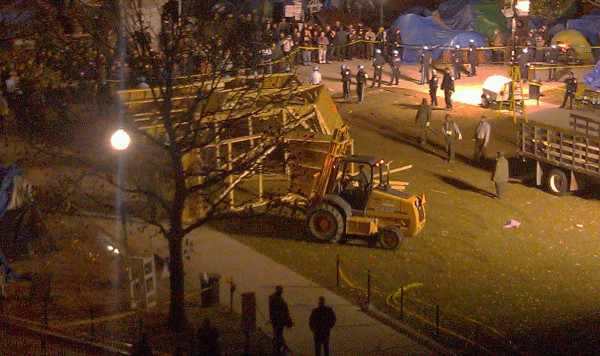 Nice while it lasted: The Occupy DC structure has been torn down, based on this photo from Washington Post reporter Michael Bolden. A total of 31 people got arrested over this whole situation, which ended after a nine-hour standoff Sunday.