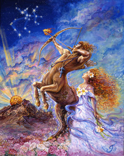 "Sagittarius: November 23 - December 21 Sagittarians are energetic and naturally outgoing, achieving each goal through positive thinking. These ""archers"" seek knowledge and wisdom and never tire of the quest for what is yet to come. Challenges keep a Sagittarian's spirit thriving, and once met, a target is set for the next goal, and the next. Astrologers believe that being born under this fire sign gives Sagittarians the gift of providence - that luck protects them. Under the jovial rule of Jupiter, they make for charming and agreeable companions. Their key phrase is ""I see."" Never dwelling on what has happened today, a Sagittarian constantly believes that something wonderful will happen tomorrow. Sagittarians have such a zest for life that they make you want to hang on with them and enjoy the ride."
