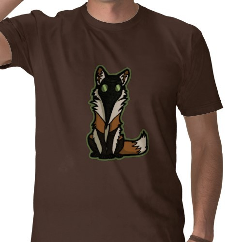 PlagueFox T-shirt on Zazzle. Maybe it looks snazzier on black:  Either way, you can choose the shirt color on Zazzle.  They're nice like that.